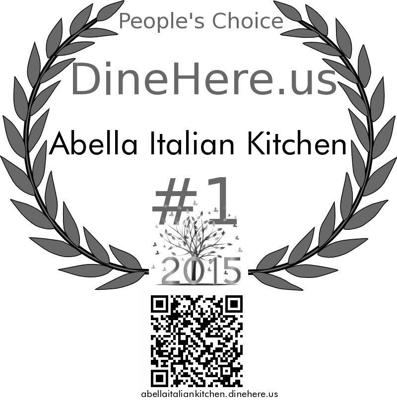 Abella Italian Kitchen DineHere.us 2015 Award Winner